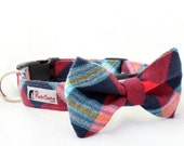 Plaid Flannel Dog Collar - Red, Navy Blue and Aqua (Collar Only - Matching Bow Tie Available Separately)