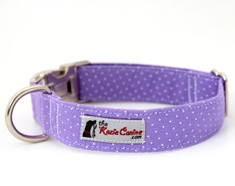 Purple Polka Dot Dog Collar (Feminine Purple Polka Dots)