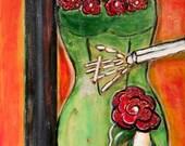 Mardi Gras Skeleton Woman in French Quarter, New Orleans, La Femme Fatale