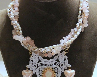 Wedding Lace Necklace - Bridal Necklace - Cameo, Fresh Water Pearls, Rose Quartz, Kumihimo - Vintage - Recycled - Valentine's Day - Prom