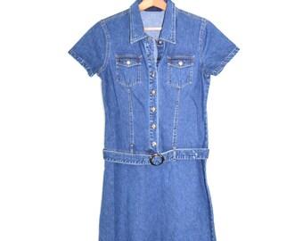 Denim Dress Denim Shirt Dress Jean Dress Womens Denim Dress 90s Grunge Dress Classic Blue Denim Dress Size 9