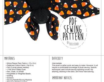 Stuffed Animal Bat Sewing Pattern, Plush Toy Pattern, PDF