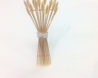 TIFFANY PLATINUM DIAMOND Gold Wheat Brooch - Stamped and Hallmarked - Classic Design - Solid Yellow Gold