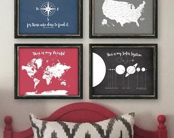 Set of 4 Custom Map & Adventure Prints!!!