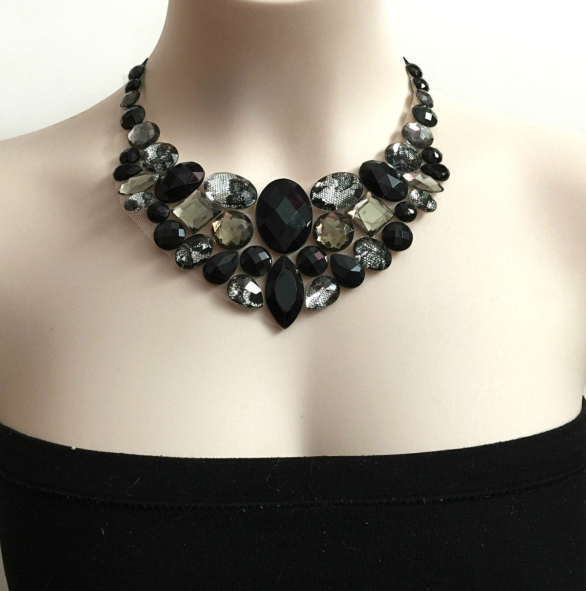 bib necklace black grey lacy rhinestone bib unique