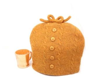 Tangerine tea cozy Sweater tea pot cosy Orange heather Cable knit cozy 1960s teapot cover Vintage fabric teacozy Tea pot warmer OOAK