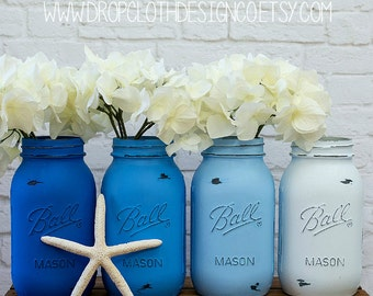 Painted and Distressed Mason Jars - Blue, Blue Ombre, Bright Blue Ombre - Centerpiece, Wedding, Showers