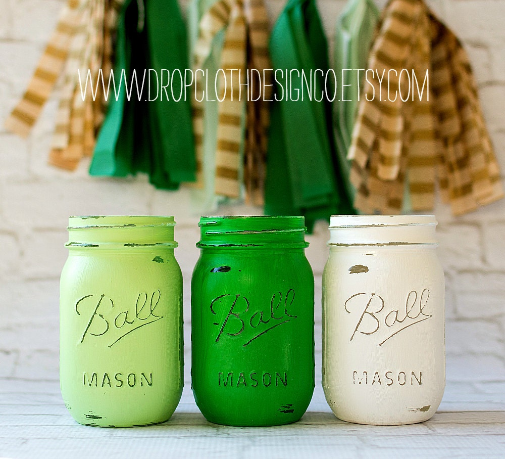 St. Patrick's Day Jars - Mint Green, Kelly Green, White