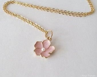 Pink Flower Necklace - Sakura Flower Necklace - 16k Gold Plated Over Brass - Cherry Blossom Floral Necklace