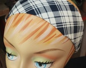 Plaid Headband - Navy Blue & White - 100% Cotton