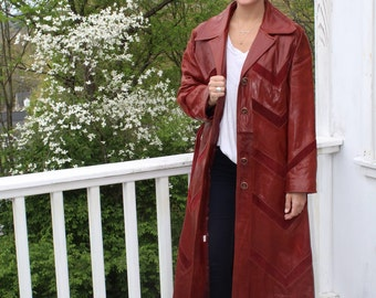 1970s Butter Soft Oxblood Chevron Long Leather Coat
