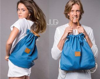 Blue canvas backpack - multi way back bag SALE blue tote bag - waterproof rucksack - women backpack - gift for her - hipster backpacks