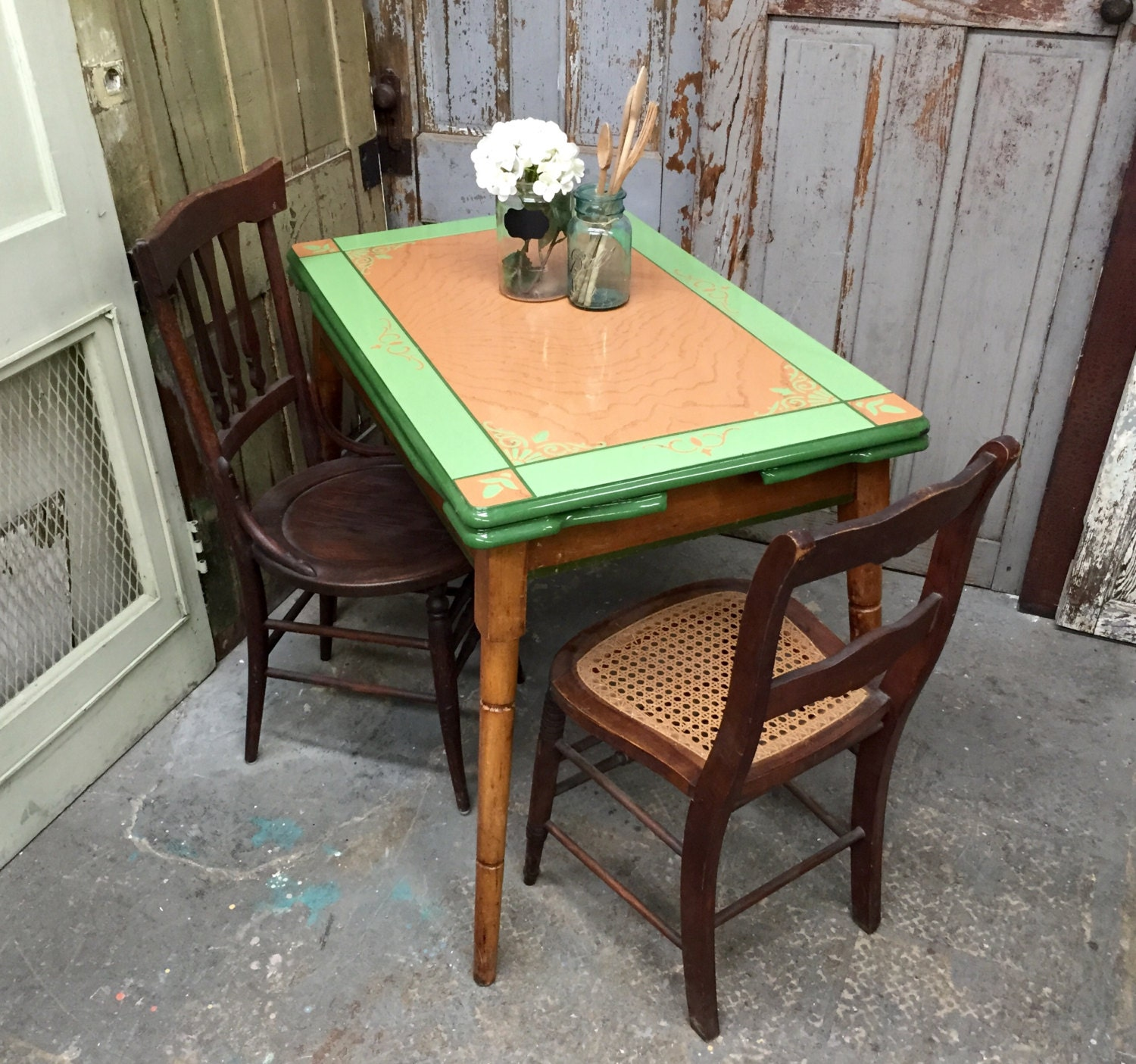 Kitchen Table Top : Enamel top table antique kitchen farm dining