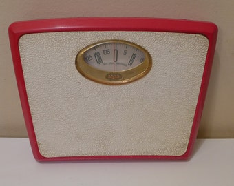 Borg Metric Scale Red White and Gold Vintage Retro Bathroom Metal Scale Ideal Step On Scale Kilograms