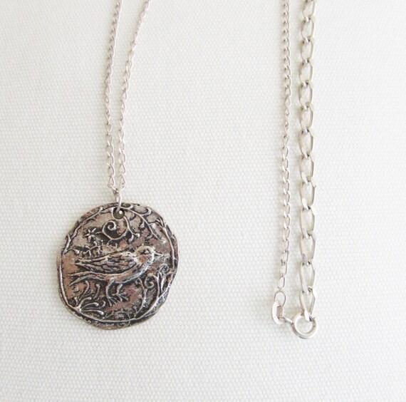 Bird Silver Coin Necklace, Handstamped Silver Antique Silver Bird Coin, Ecofriend Bird Engraved Coin Necklaces, Women Handmade Jewelry Gift