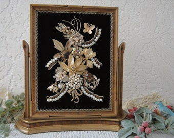 Framed Jewelry Art , Garden Art Jewelry Home Decor , Gold Topaz Pearl Vintage Jewelry Collage  by VintageRedo
