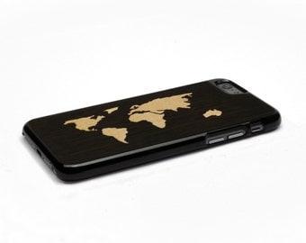 iPhone 6 Case Wood World Map Inlay Wenge Maple, Wood iPhone 6s Case Wood iPhone 6 Case, iPhone 6 Wood Case, iPhone 6s Wood Case, iPhone Case
