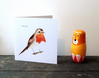 Illustrated Robin card, Greeting card, Bird card, Birthday card.