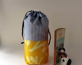 Draw string bag / small pouch /Grey and Yellow / Handprint