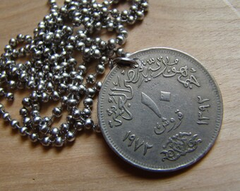 Foreign Coin Necklace with Stainless Steel Ball Chain - Eagle - Double Sided
