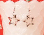 Cookie cutter earrings - Christmas cookie cutter earrings - mini star earrings - silver Christmas earrings - silver star - Christmas cookies