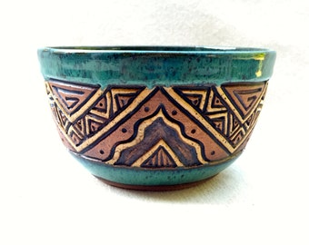 Hand Carved Aztec Design Bowl - Stoneware - Blue, Green, Turquoise, Brown, Tan - 2.5 Cups - Serving, Cereal - Textured, Unique, Original