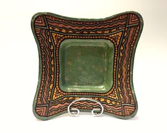 Wavy Pottery Platter - Hand Built & Carved - Aztec  - Sage Green, Brown, Tan - Original, Unique - Decorative Fruit Bowl - Plate - Textured