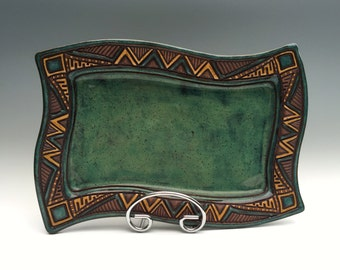 Hand Built - POTTERY WAVY PLATTER - Stoneware Carved Serving Plate - Chevron Triangles -  Blue Green Turquoise- Aztec Tribal, Unique