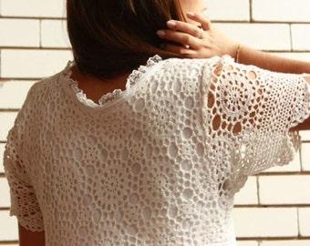 Crotchet Detail Ivory Boho Dress