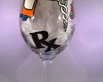 Hand Painted Pharmacist Wine Glass - Medical Science Laboratory Pharmacy