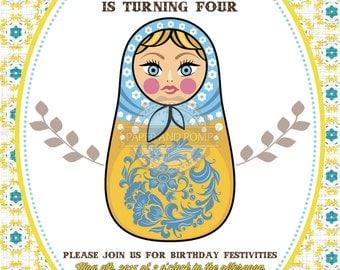 Russian Nesting Doll Matryoshka Babushka Matreshka Girls Birthday Invitation Printable Digital