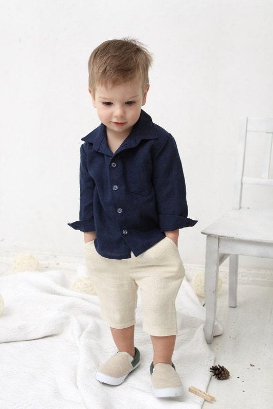Baby boy shorts Toddler boys pants Linen shorts Ivory by mimiikids