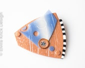 Handmade art brooch, whimsical modern jewelry, polymer brooch, wearable one of a kind pin, Dutch Design