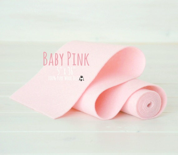"100% Merino Wool Felt Roll - 5"" x 36"" - Wool Felt Color Baby Pink-4020 - Wool Felt Roll - Pink Wool Felt - Wool Felt for Girl - Pink Color"