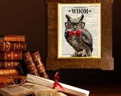 """Dictionary Page Print - """"WHOM - Proper Professor Owl"""" - Upcycled dictionary page, Funny Owl print, Grammar print, Words art, Kids Room decor"""