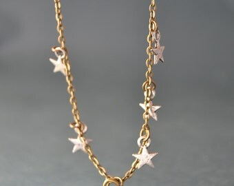 Vintage Tiny bear necklace - polar bear necklace - silver stars necklace , Ursa Major constellation necklace - Bear jewelry