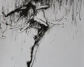 Contemporary figurative painting of dancer, black and white wall art, ballet painting ink on paper, ink painting dancing lady