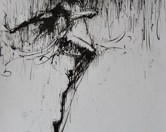 Figurative painting of dancer, black and white wall art, ballet painting figurative, ink painting dancing lady