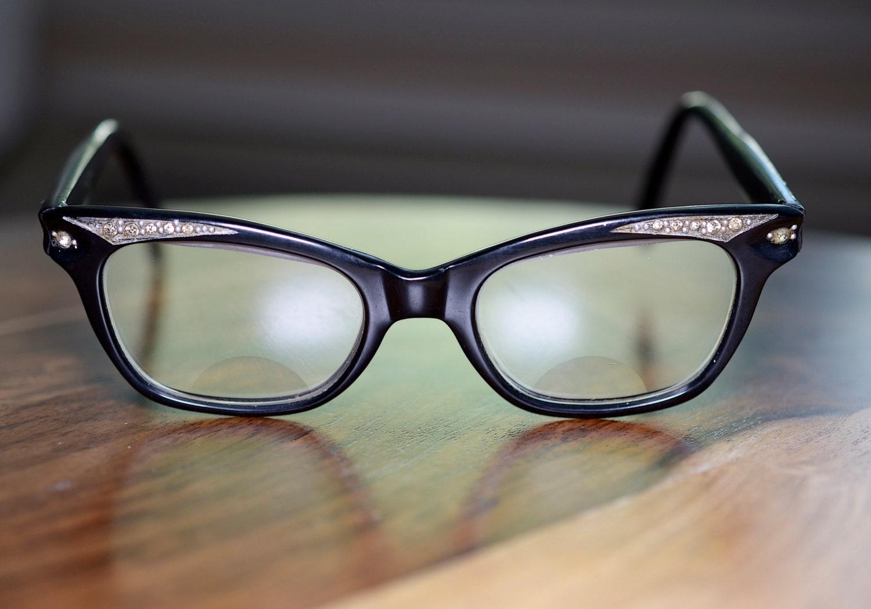 Rhinestone Vintage Cat Eyeglasses Shiny Black by ...