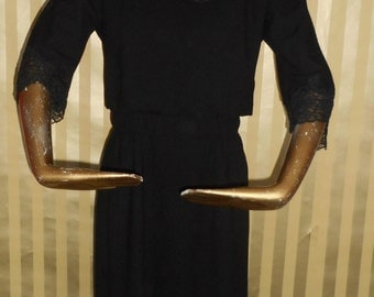60's Vintage Black Wool and Lace Sheath Dress from B. Siegel Co. and Harvey Berin