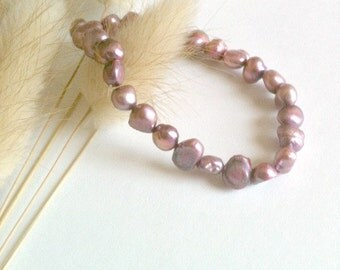 Freshwater Cultured Pearl Bracelet, Handmade, Stretch Cultured Pearl Bracelet