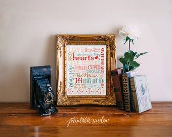 Valentine's Day Subway art printable valentine decor wall art print INSTANT DOWNLOAD subway art print typography digital Printable Wisdom