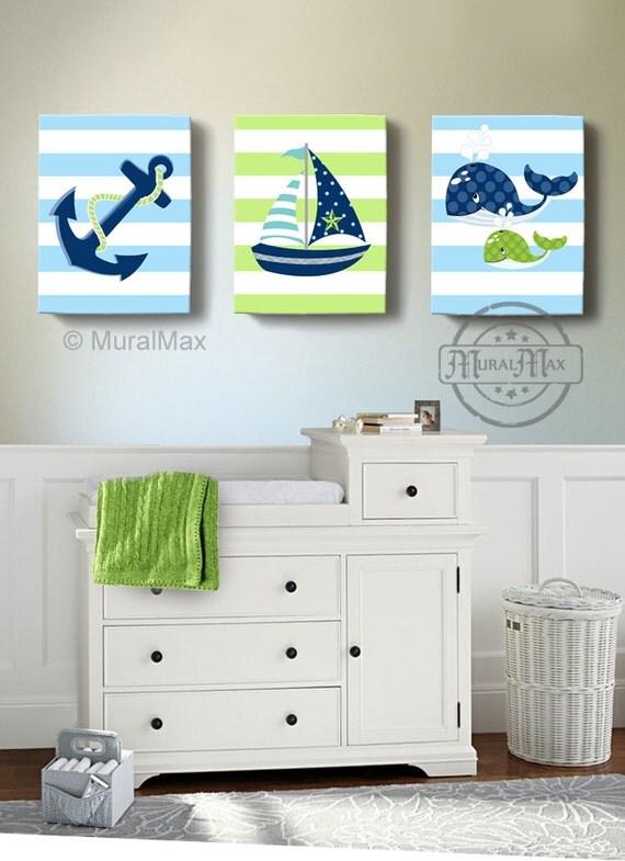 nautical nursery art sailboat anchor whale nursery decor. Black Bedroom Furniture Sets. Home Design Ideas