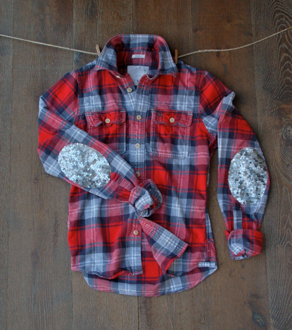 Sequin flannel shirt with sequin elbow patch by icaughtthesun for Mens flannel shirt with elbow patches