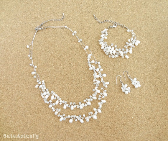 Brautschmuck armband perlen Schmuck-Set weiße Süßwasser Perlen Kette Armband Ohrring