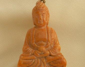 Jade Buddha pendant w leather cord necklace , beaded jewelry , Buddha in meditation , Buddhist religious icon , Buddhist icon jewelry , jade