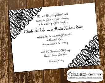 Black Lace Wedding Invitation, Fancy, Script, Elegant, Marriage, Celebration - Custom Digital File