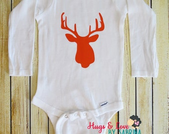 Deer head silhouette Baby Bodysuit