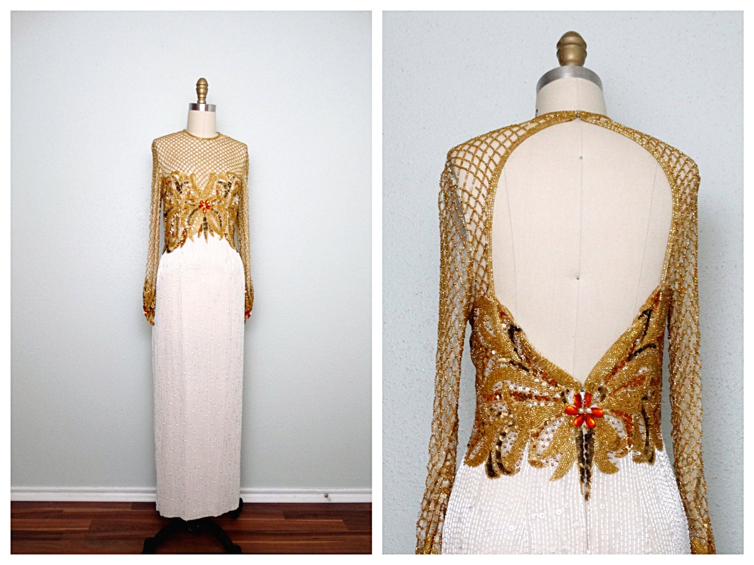 Stunning gold beaded wedding dress by naeem khan and lillie for Wedding dresses with gold beading