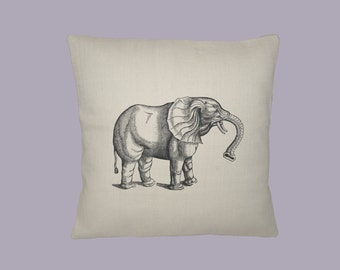 Fantastic Vintage Elephant Engraving Image 16x16 HANDMADE pillow slip - choice of fabrics, image in ANY COLOR